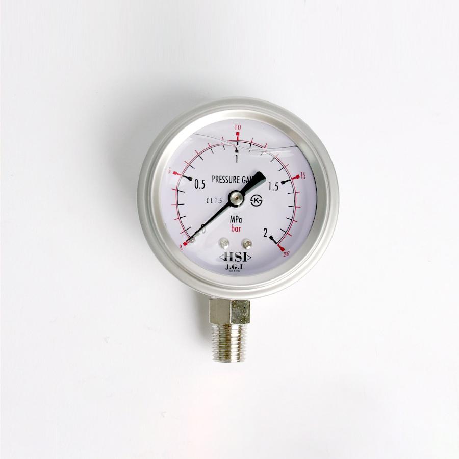 오일충만형 압력계 관로형 20bar 2.5인치 1/4나사