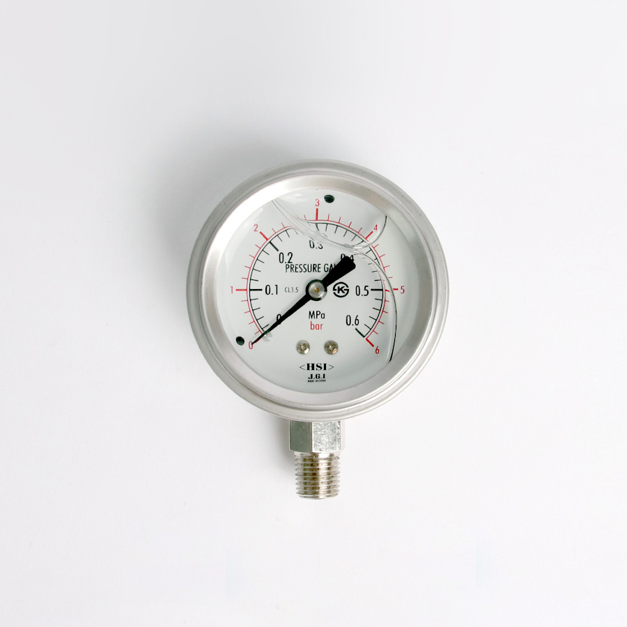 오일충만형 압력계 관로식 6bar 2.5인치 1/4나사